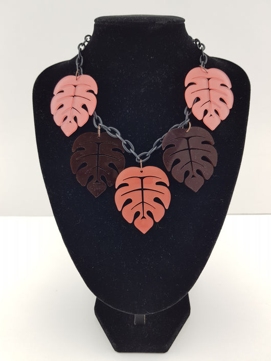 Two-tone Monstera Leaf Necklace in Pink & Chocolate Brown