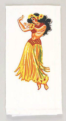 Hula Girl Tea Towel Dish Cloth 50s Rockabilly PinUp Vintage Lei Hawaii Tiki