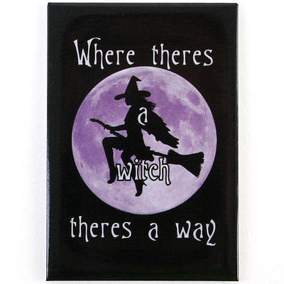 Witch Magnet Full Moon Sexy Purple Goth Halloween Vamp Wiccan Pagan Broom