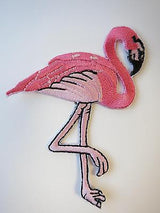 Pink Flamingo Iron On Patch 40s 50s Rockabilly PinUp Kitsch Florida Hawaii Bird