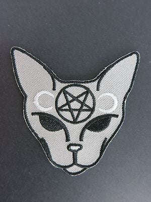 Inverted Pentagram Cat Patch Iron On Black Grey Horror Satan Wicca Devil Moon