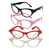 Cats Eye Clear Lens Glasses Black Diamante Rockabilly Winged