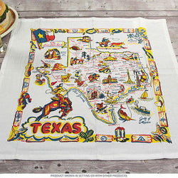 Texas Map Serviette Set 4 Rockabilly 50s Vintage Cowboy Boots Horse Bull Napkins