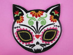 Day of the Dead Mexican Iron On Cat Patch