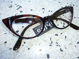 Cat Eye Clear Lens Glasses 50s Rockabilly Brown Tortiseshell Black PinUp Cats