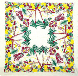 Hawaii Oahu Map Tea Towel Dish Cloth 50s Rockabilly PinUp Hula Girl Palm Tree