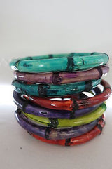 Bamboo Bangle Tiki Hawaii 50s Rockabilly Purple Green Blue Red Teal Bracelets