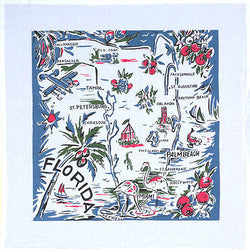 Florida Blue Map Tea Towel Dish Cloth 50s Rockabilly PinUp Flamingo Vintage