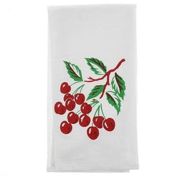 Red Cherry Tea Towel Dish Cloth 50s Rockabilly PinUp Vintage Kitsch Cherries