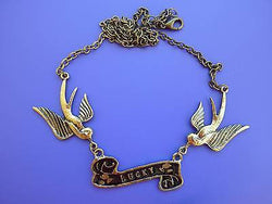 Lucky Swallows Rockabilly Necklace
