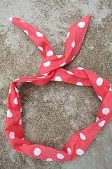 Wire Hair Scarf Scarves Polka Dot 50s Rockabilly PinUp Punk Do-Rag Pink Red