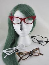 Cat Eye Clear Lens Glasses 50s Rockabilly Brown Red White Black PinUp Pointed