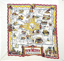 New Mexico Map Tea Towel Dish Cloth 50s Rockabilly Canyon Roswell Las Vegas