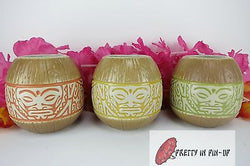 Marqo-Coco Coconut Mug Tiki Farm Rockabilly Orange Green Yellow Set of 3 Mugs