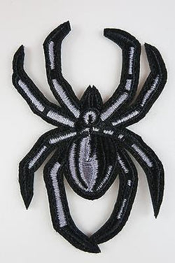 Black Spider Iron On Patch Large Black White 50s Goth Horror Fang Tarantula