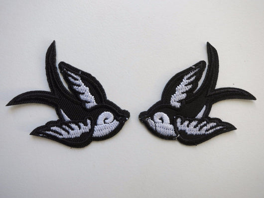 Swallow Patch Left or Right Black White 50s Rockabilly PinUp Nautical Small Bird