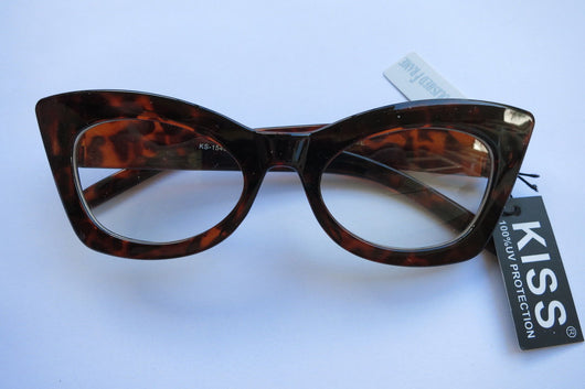 Cat Eye Clear Lens Glasses 50s Rockabilly Brown Tortiseshell Black PinUp Thick