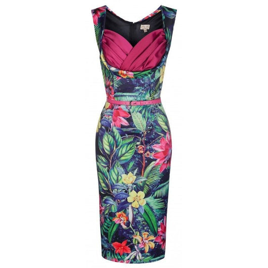 Lindy Bop Vanessa Pink Rainforest Wiggle Dress