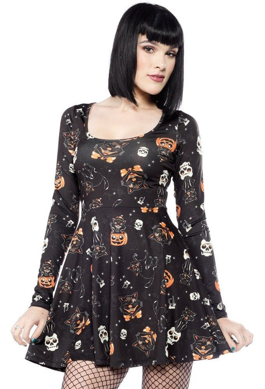 Sourpuss Dress Skater Black Cats Black Halloween 50s Rockabilly Goth S - 3XL