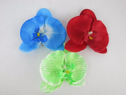 Orchid Hair Clip 50s PinUp Rockabilly Fascinator Tiki Green White Red Blue