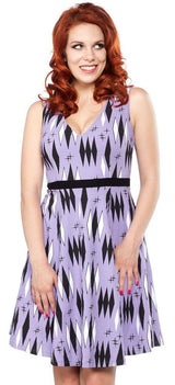 Sourpuss Retro Diamonds Dress Lilac  S - 3XL