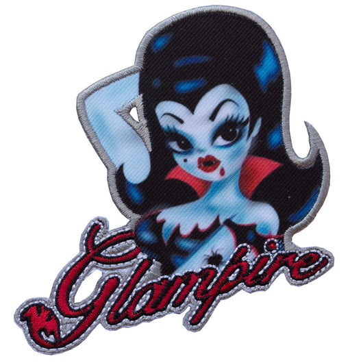 Kreepsville 666 Fluff Glampire Iron On Patch Goth Rockabilly Vampire PinUp Punk