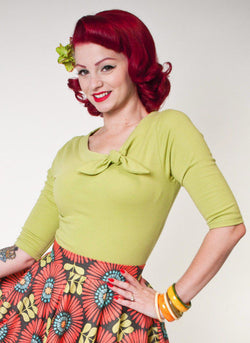 Heart of Haute Lime Green Lily Top 3/4 Sleeve 50s Rockabilly PinUp Plus XS-3XL