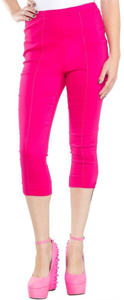 Sourpuss Sugar Pie Capris Pink Rockabilly PinUp 50s Cropped Pants Capri S - XL