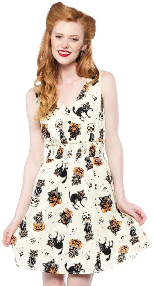 Sourpuss Black Cats Gauzy Dress S - 3XL