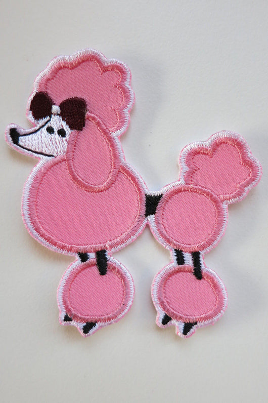 Pink Poodle Iron On Patch