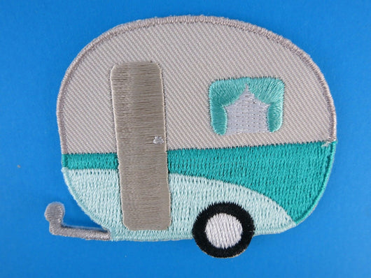 Caravan Iron On Patch Campervan Aqua Mint Silver