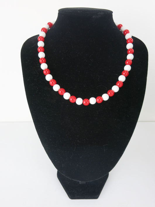 Counter Culture Republic 'King Snake' Bead Necklace in Red & White