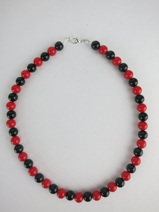Counter Culture Republic 'King Snake' Bead Necklace in Red & Black