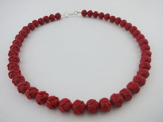 Counter Culture Republic - Carved Flower Red Necklace