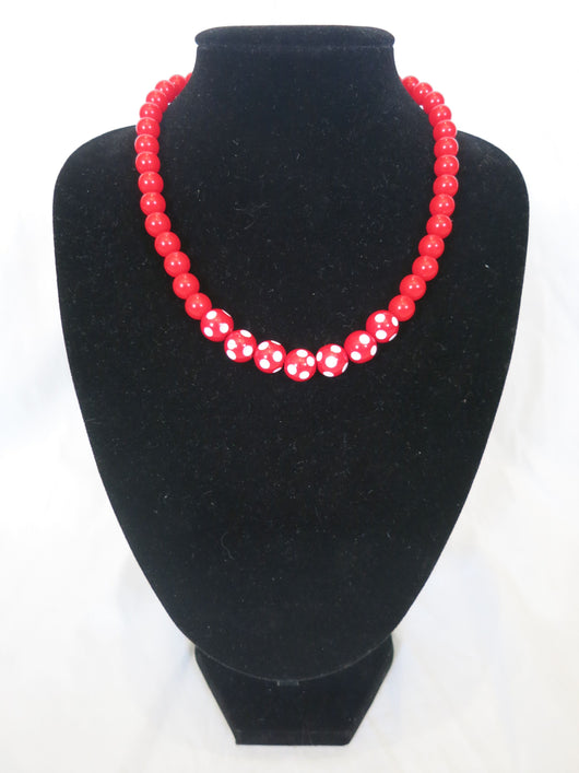 Counter Culture Republic - Red & White Polka Dot Necklace V2