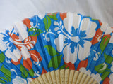 Fan - Hibiscus Print in Blue