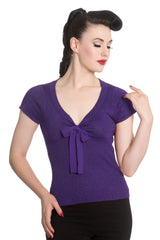 Hell Bunny Angette Top Purple XS - 2XL