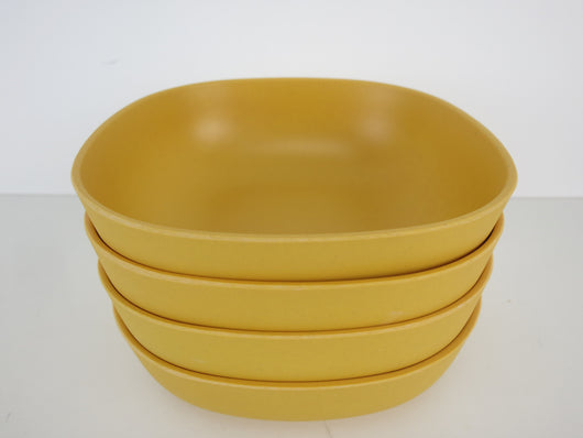 Set of 4 Four Bamboo Bowls Bowl Yellow