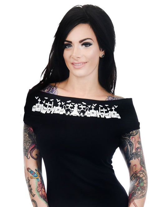 Too Fast Foxy off the shoulder top - Graveyard & Bats S-2XL