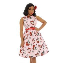 Lindy Bop Audrey Pink Rose & Skull Swing Dress