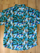 Hawaiian Shirt Blue Parrot Print Mens S - 6XL