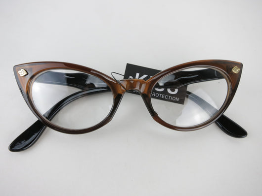 Cat Eye Clear Lens Glasses - Brown, Green, Red, Purple, Olive