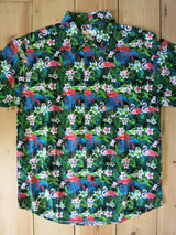 Hawaiian Shirt Green Flamingo Print Mens S - 6XL