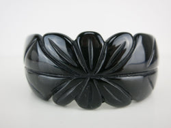 Black Carved Bangle - Petal
