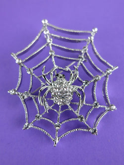 Spider Web Brooch Diamante