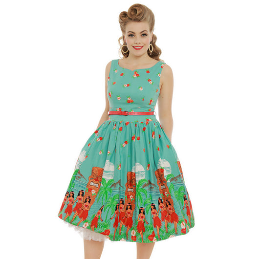 Delta Teal Tiki Print Swing Dress 8 - 20