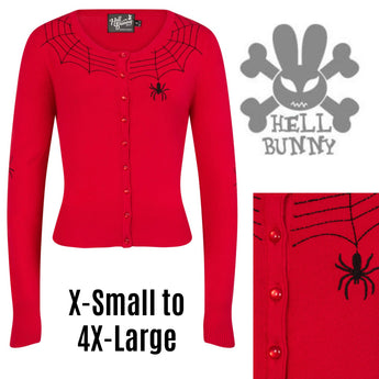 Hell Bunny Spider Cardigan Red XSmall - 4XLarge