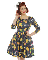 Lindy Bop Kylie Retro Cat & Mouse Print Swing Dress