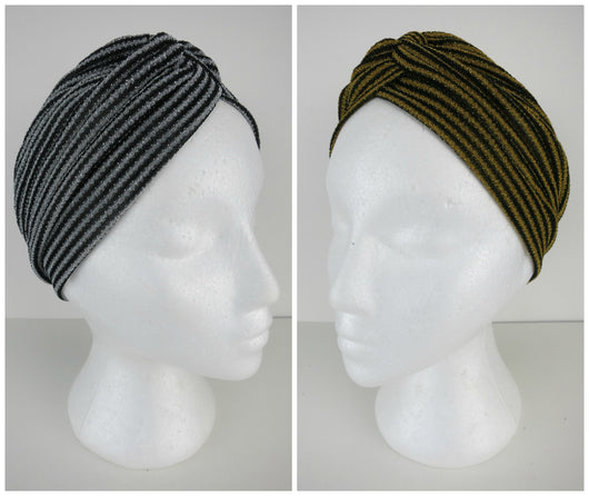 Lurex Turban Deco Striped Gold & Silver