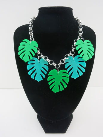 Two-tone Monstera Leaf Necklace